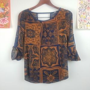 Tops - Rust & Navy Floral Blouse